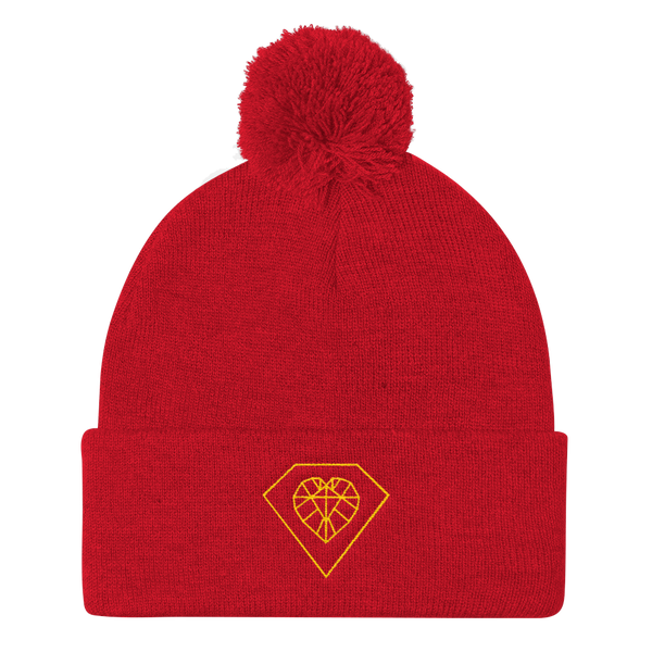 Gold Heart Diamond Pom Pom Hat