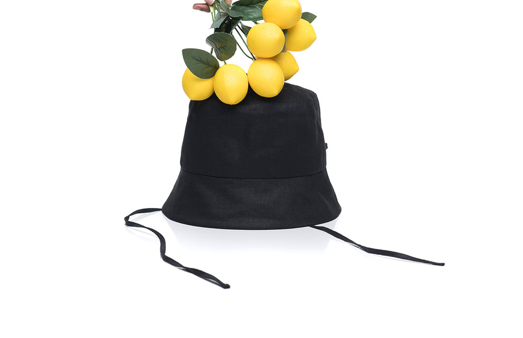 Layd Black Linen Bucket Hat With Lemons