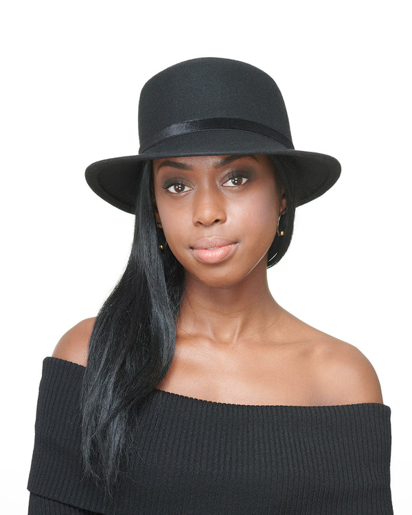 LAYD Black Wool Felt Boater Hat Front
