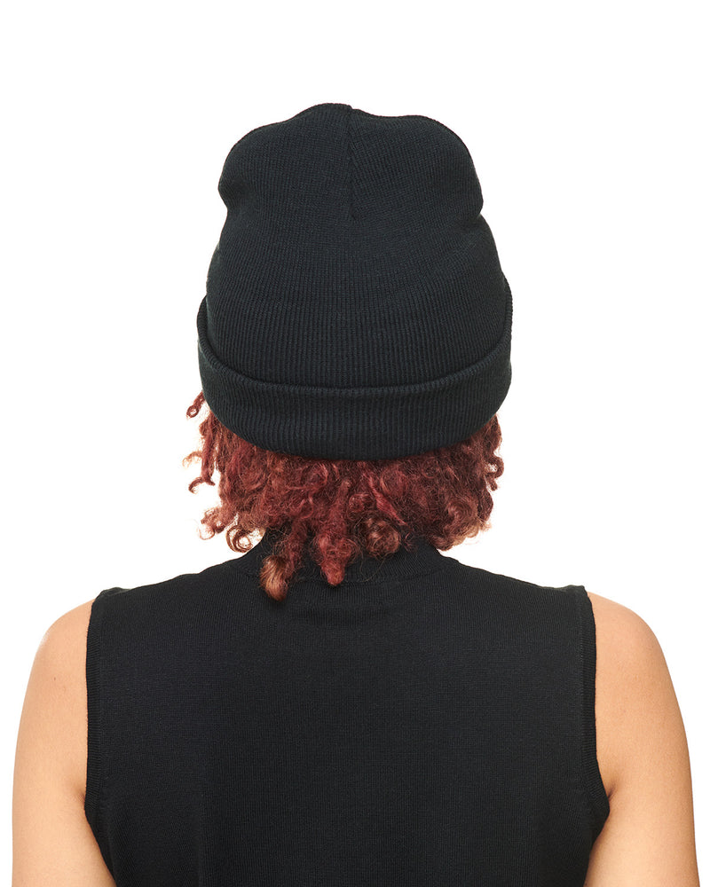 Black Knit Beanie Back
