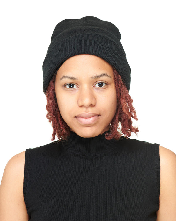 Black Knit Beanie Front