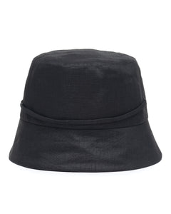 Black Linen Bucket Hat Back