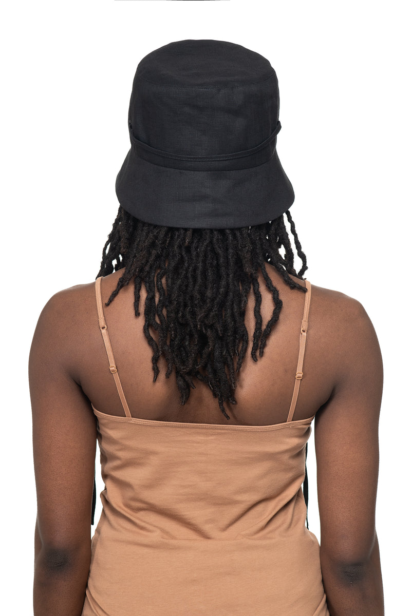 Black Linen Bucket Hat Back 1