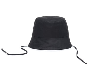 Black Linen Bucket Hat Front