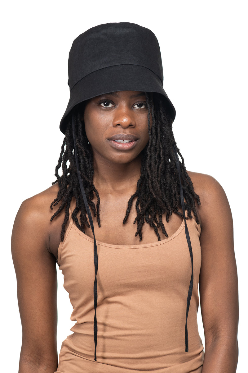 Black Linen Bucket Hat Front 1