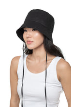 Black Linen Bucket Hat Front 2