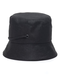 Black Linen Bucket Hat Side
