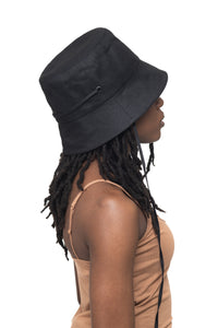 Black Linen Bucket Hat Side 1