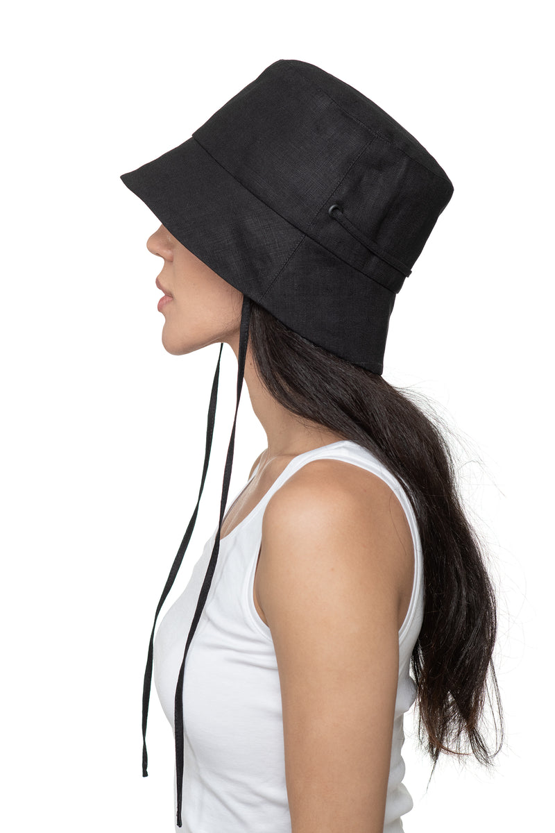 Black Linen Bucket Hat Side 2
