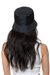 Black Nylon Bucket Hat Back 1