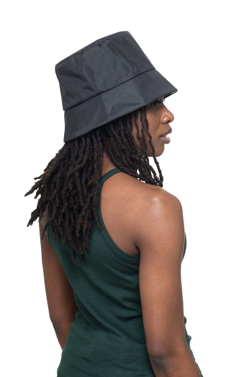 Black Nylon Bucket Hat Side 2