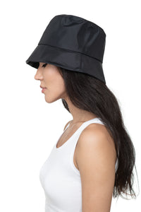 Black Nylon Bucket Hat Side 1