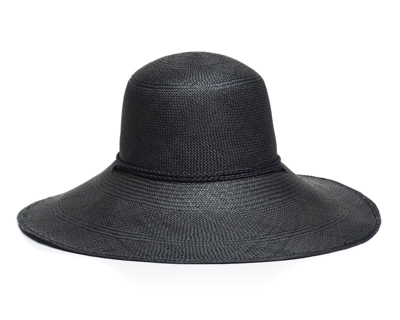 Black Panama Straw Hat Back
