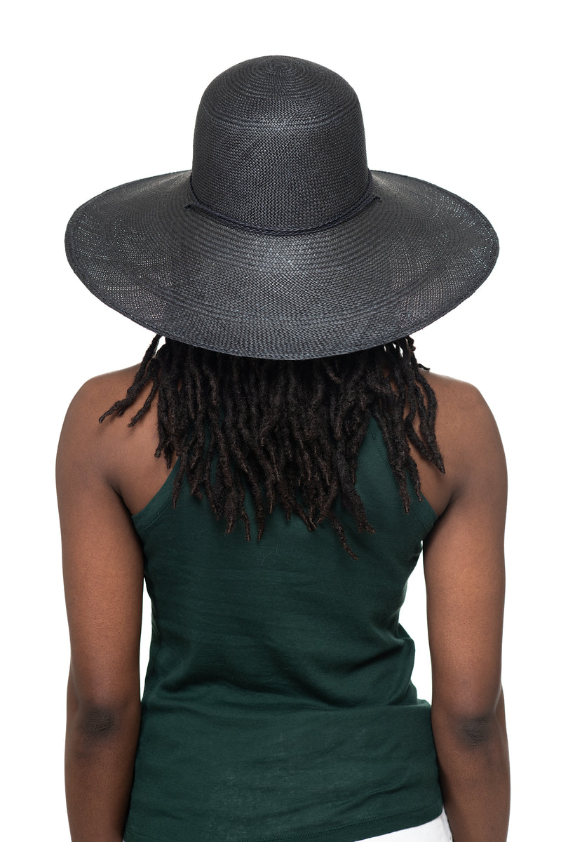 Black Panama Straw Hat Back 1