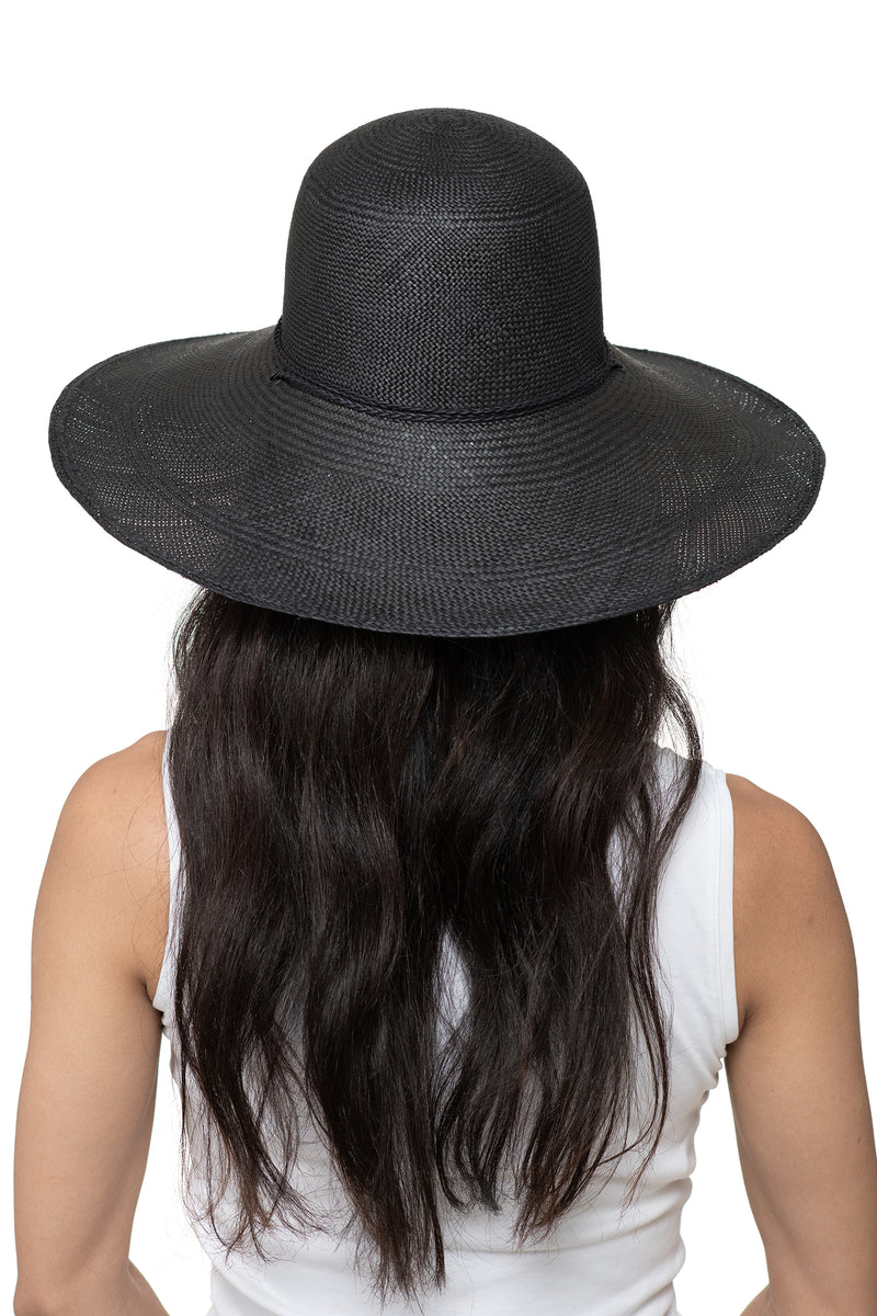 Black Panama Straw Hat Back 2