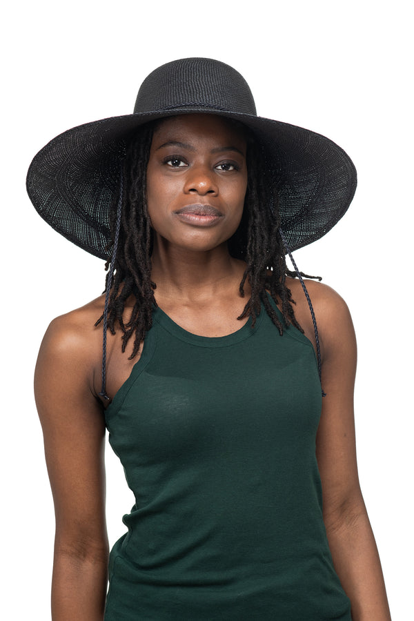 Black Panama Straw Hat Front 1