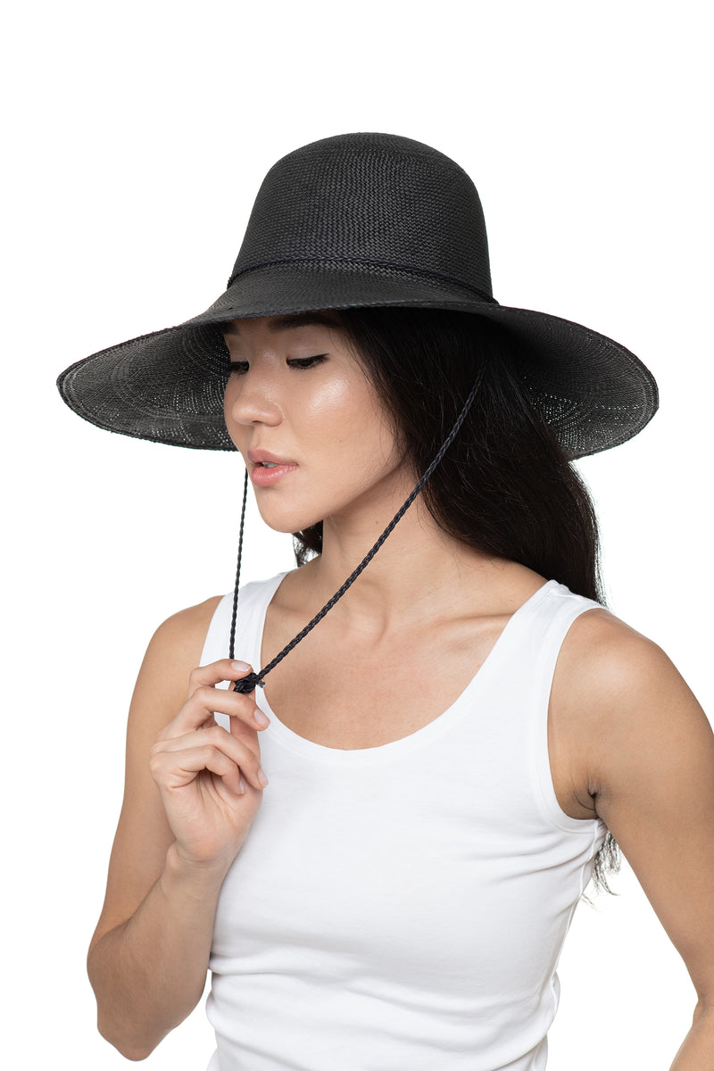 Black Panama Straw Hat Front 2