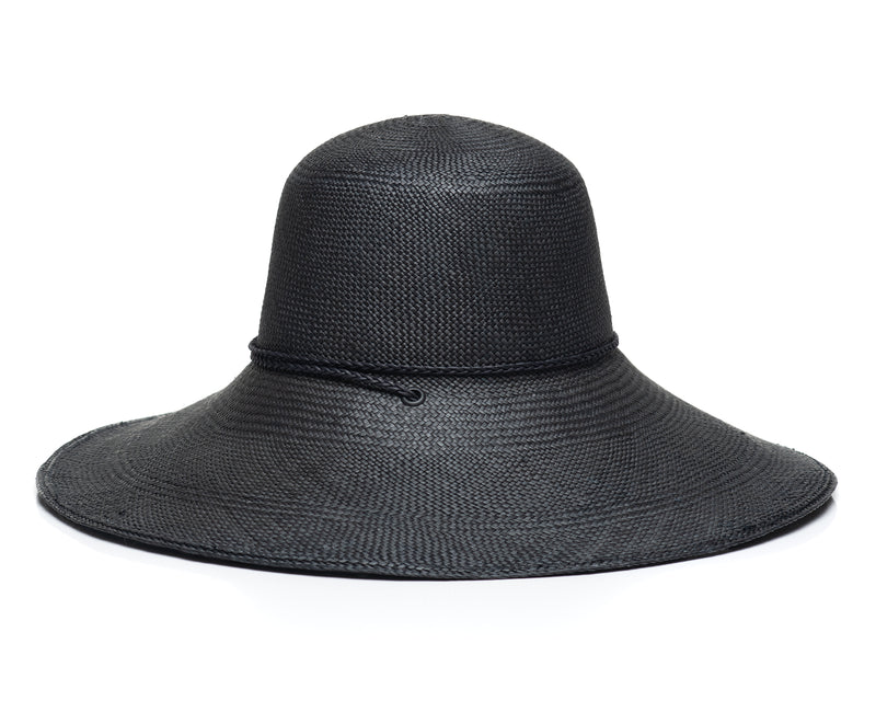 Black Panama Straw Hat Side
