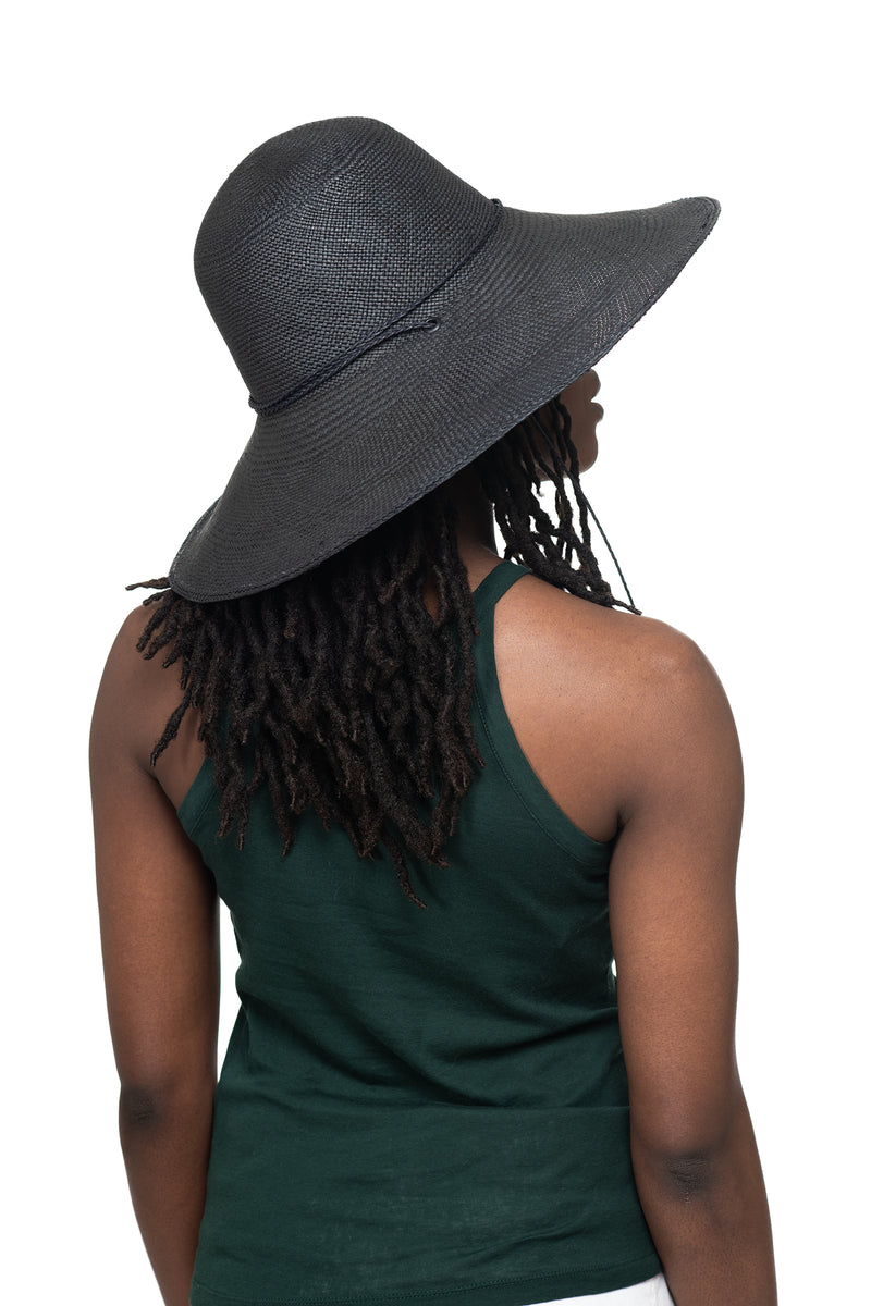 Black Panama Straw Hat Side 1