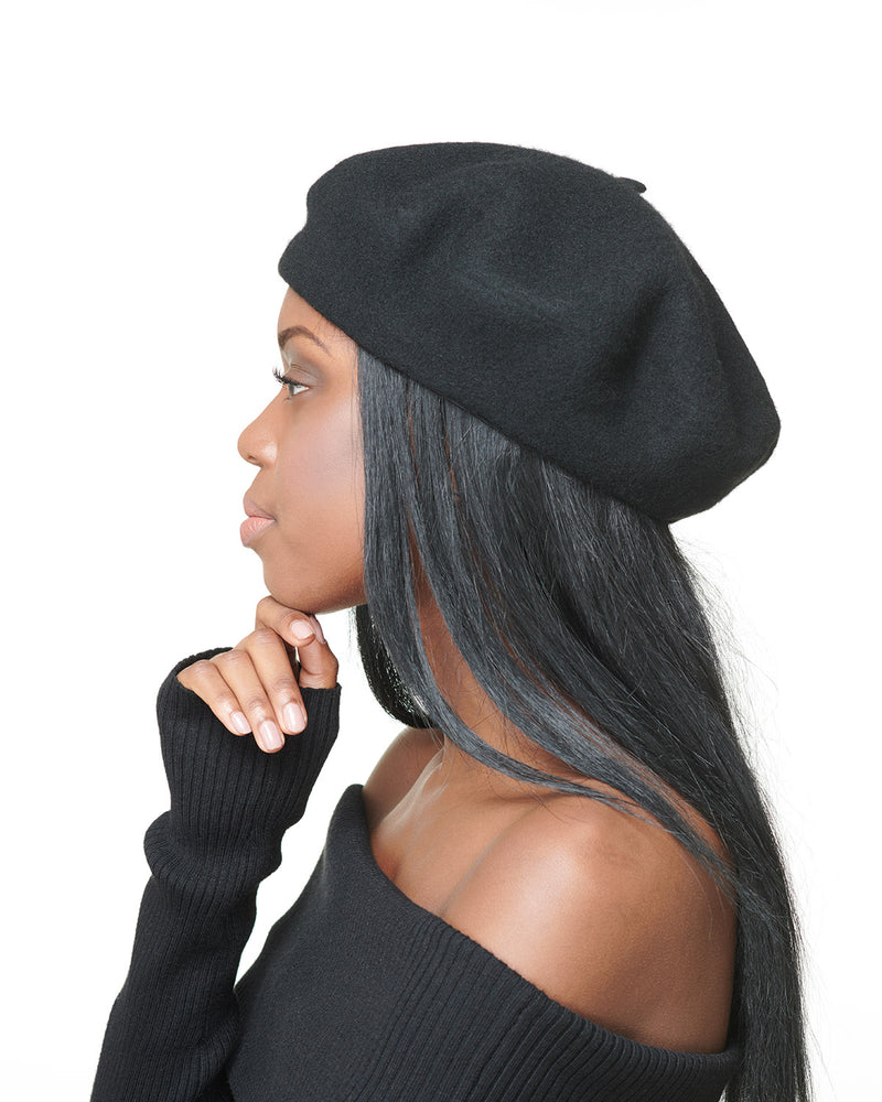 Black Wool Felt Beret Side