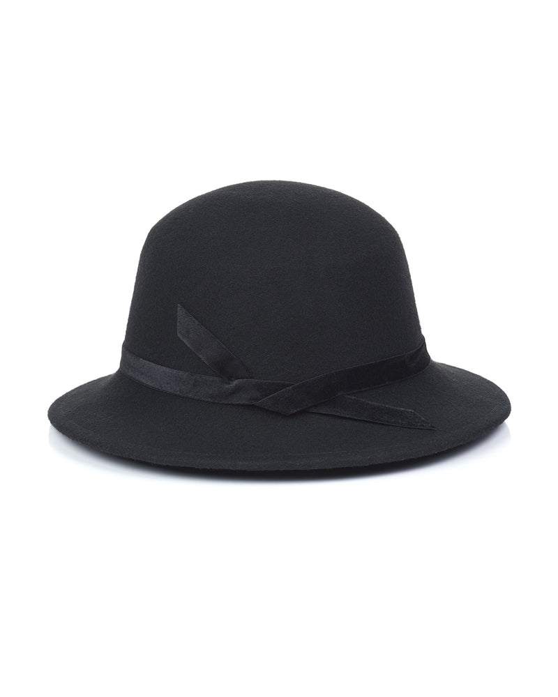 Black Wool Felt Boater Hat Back