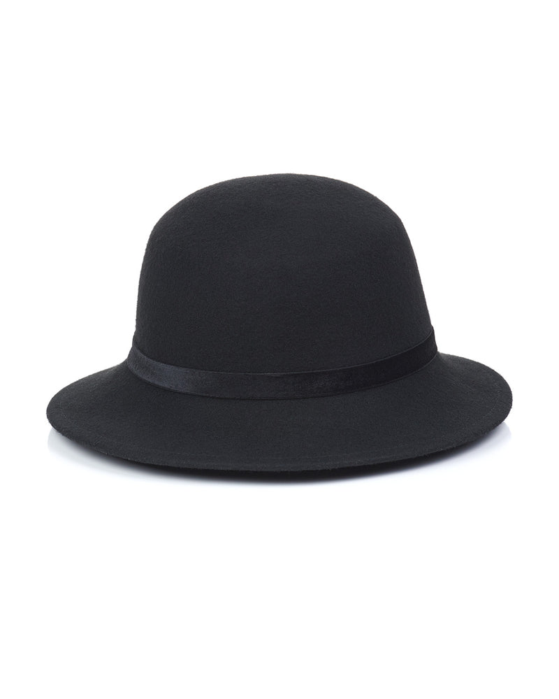 Black Wool Felt Boater Hat Front