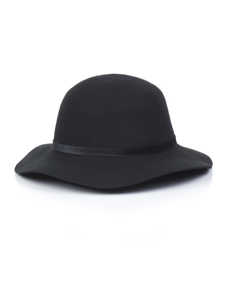 Black Wool Felt Boho Hat Front