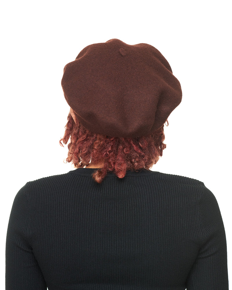 Brown Wool Felt Beret Back