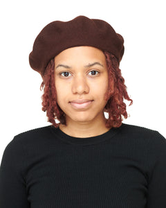 Brown Wool Felt Beret Front