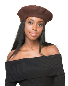 LAYD Brown Wool Felt Beret Front