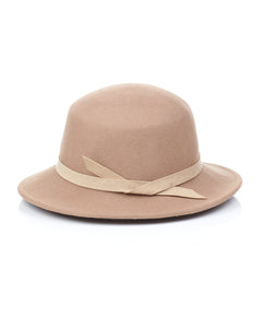 Camel Wool Felt Boater Hat Back