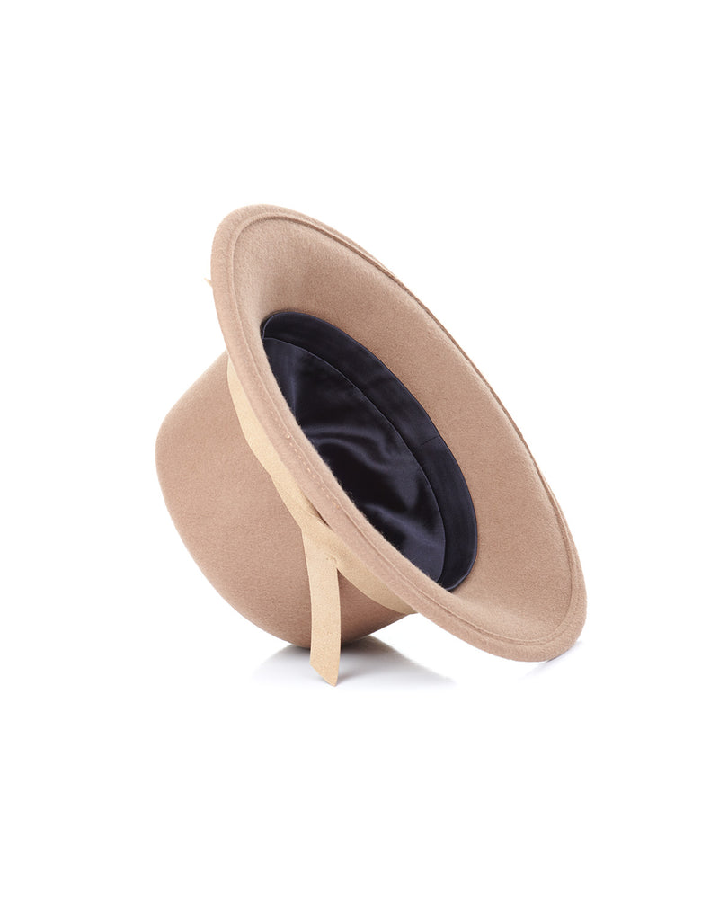 Camel Wool Felt Boater Hat Interior