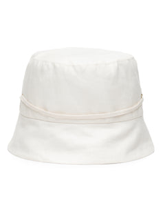 White Linen Bucket Hat Back