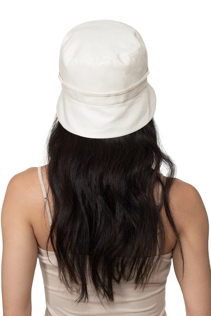 White Linen Bucket Hat Back 1