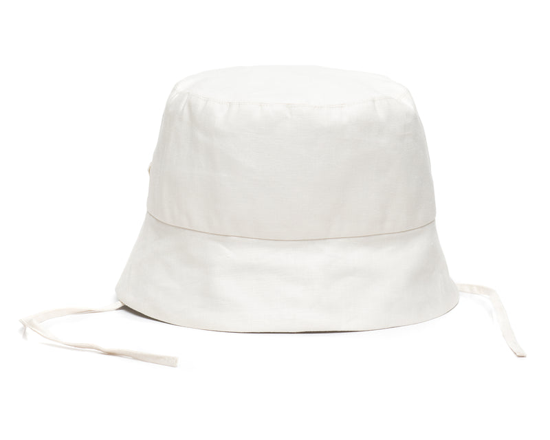 White Linen Bucket Hat Front