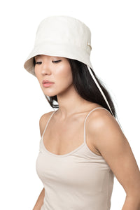 White Linen Bucket Hat Front 1