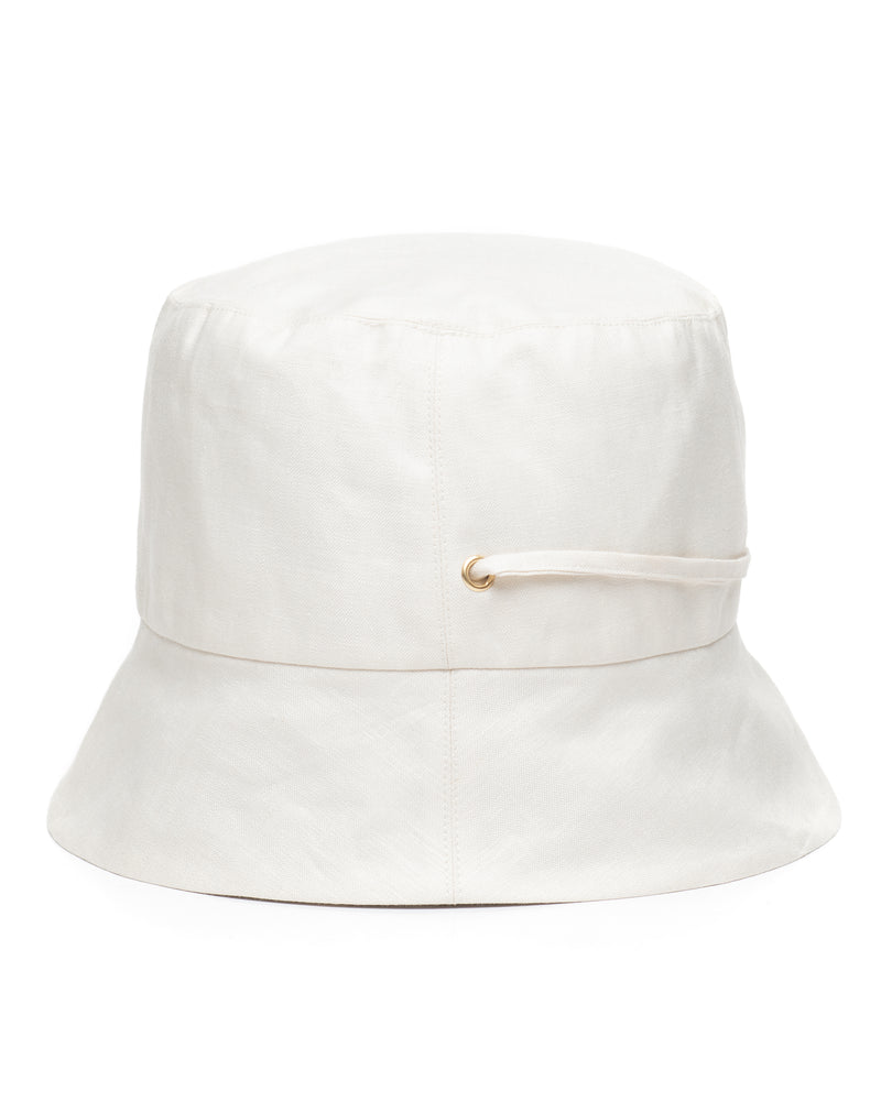 White Linen Bucket Hat Side