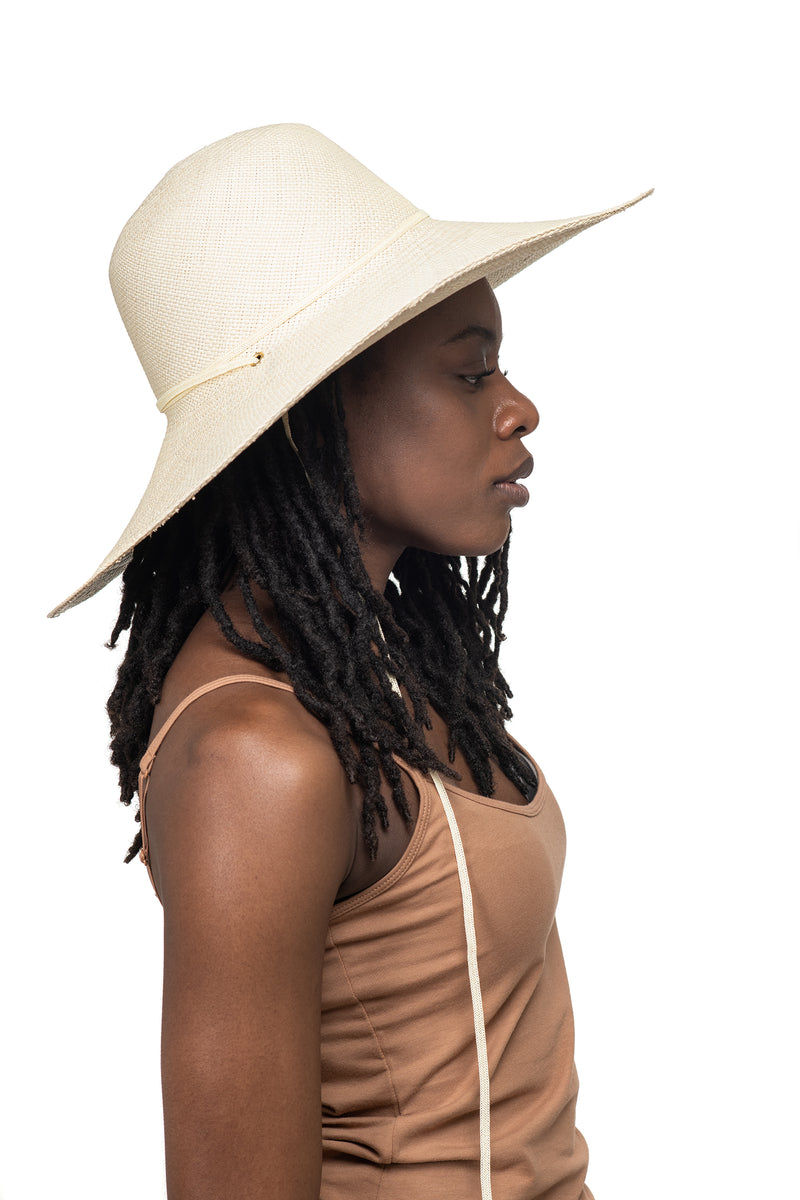 Cream Panama Straw Hat Side 2