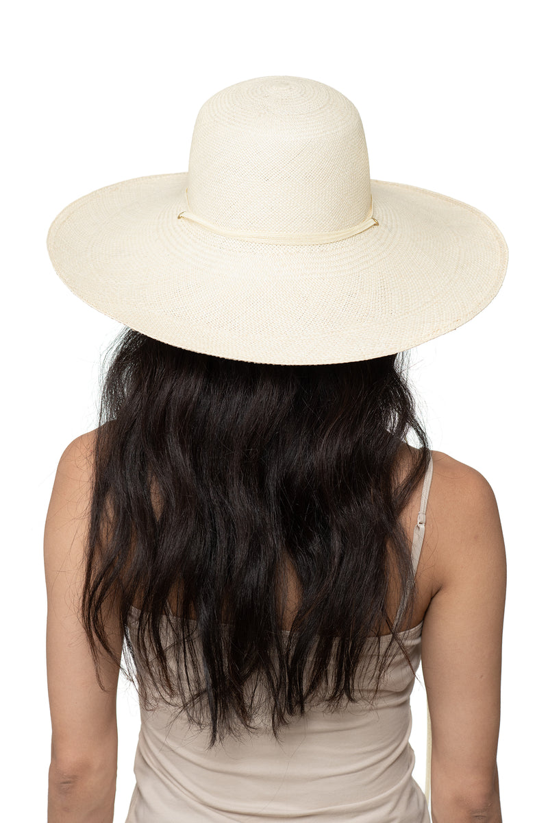 Cream Panama Straw Hat Back 1