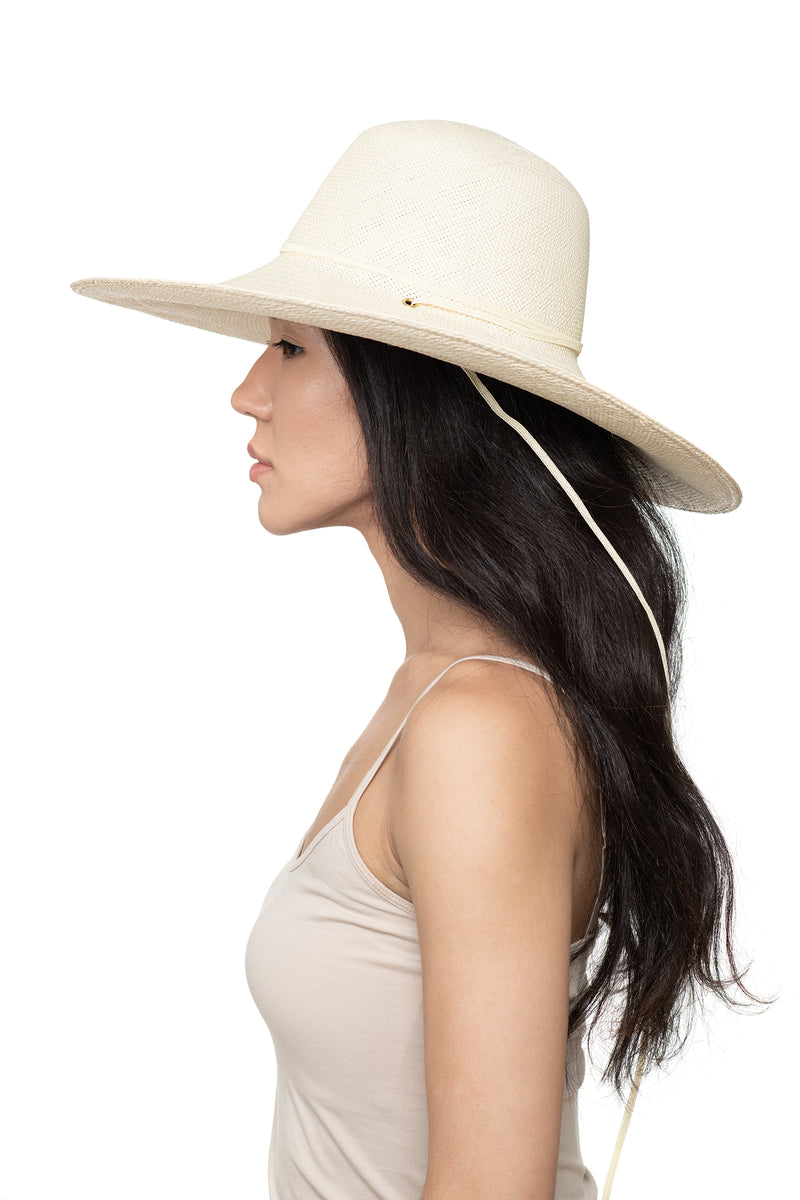 Cream Panama Straw Hat Side 1
