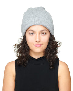 Grey Knit Beanie Hat Front