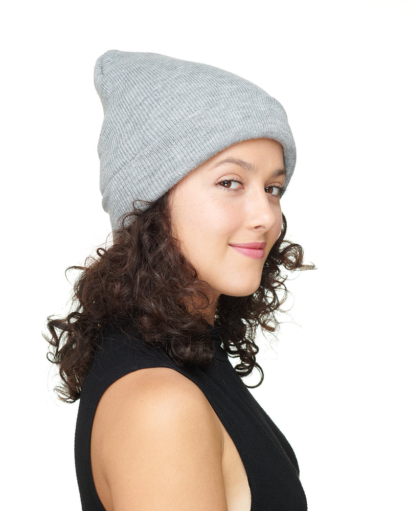 Grey Knit Beanie Hat Side