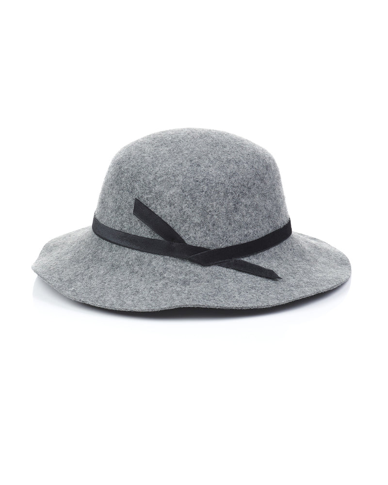 Grey Wool Felt Boho Hat Back