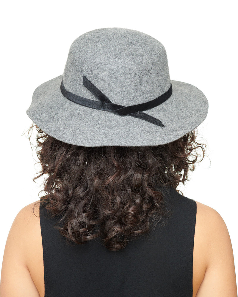LAYD Grey Wool Felt Boho Hat Back