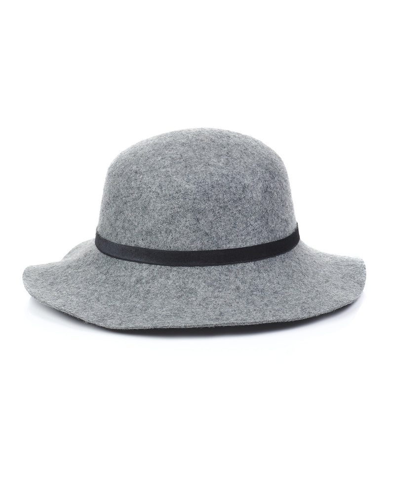 Grey Wool Felt Boho Hat