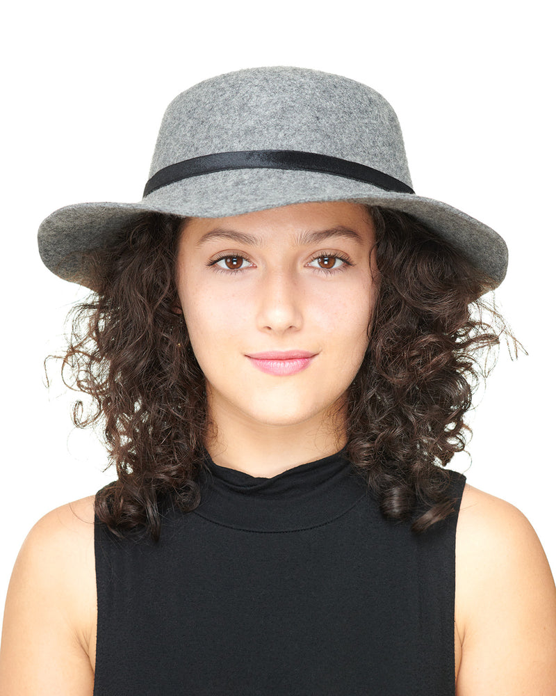 Grey Wool Felt Boho Hat Front