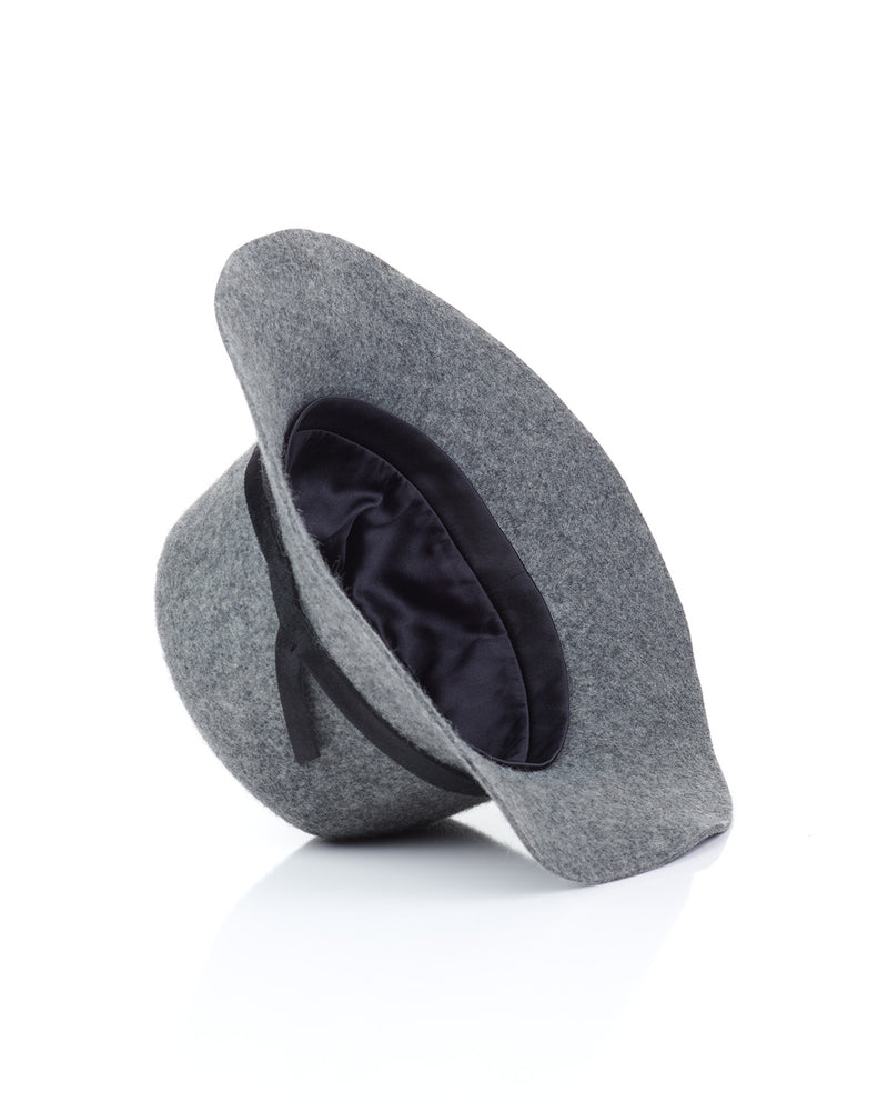 Grey Wool Felt Boho Hat Interior