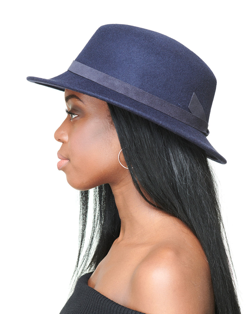 LAYD Navy Wool Felt Boater Hat Side