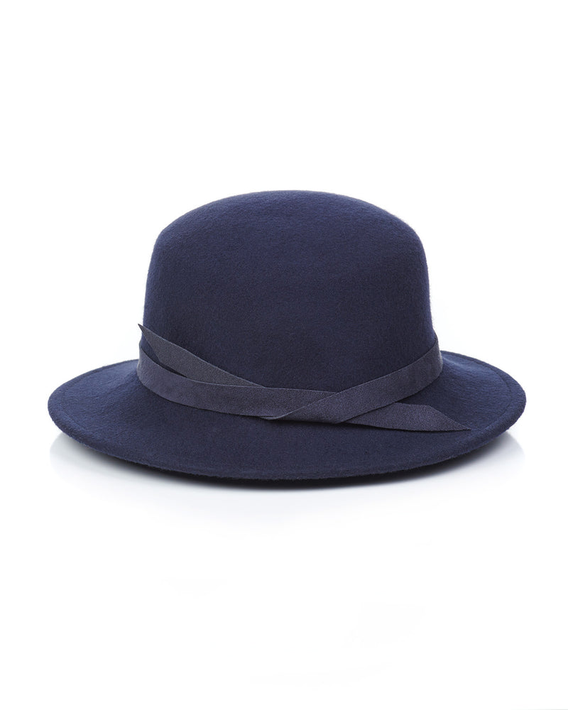 Navy Wool Felt Boater Hat Back