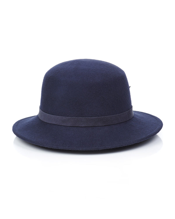 Navy Wool Felt Boater Hat Front